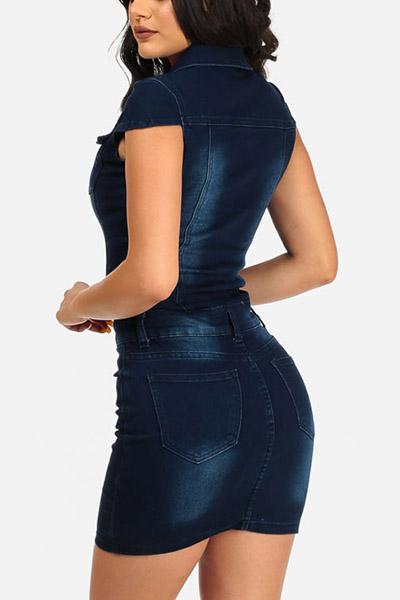 Stylish Turndown Collar Single-breasted Dark Blue Denim Sheath Mini Dress