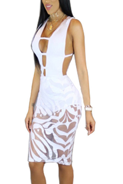 Sexy Deep V Neck See-Through White Polyester Sheath Knee Length Dress(With Lining)