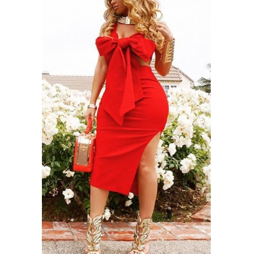 Euramerican V Neck Side Split Red Polyester Two-piece Skirt Set
