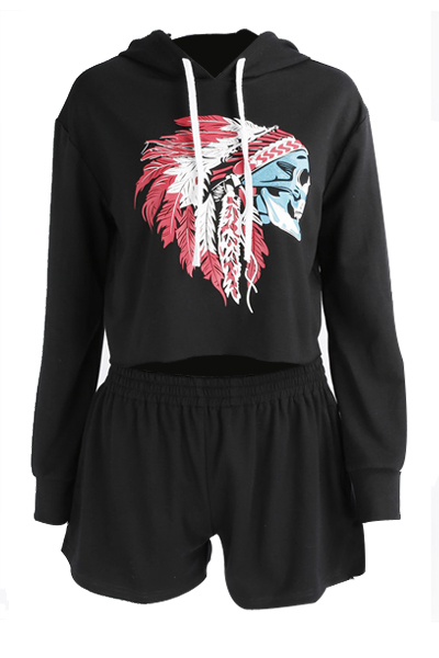 Leisure Hooded Neck Long Sleeves Printed Black Polyester Two-piece Shorts Set