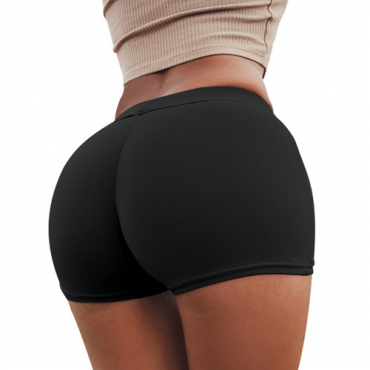 Leisure Elastic Waist Black Polyester Skinny Shorts