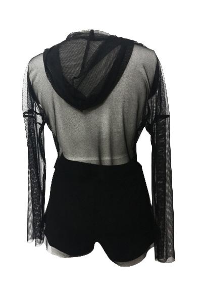 Sexy Gauze Patchwork Black Two-piece Shorts Set