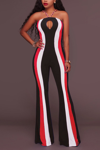 Sexy Hollow-out Striped Red Twilled One-piece Jumpsuits