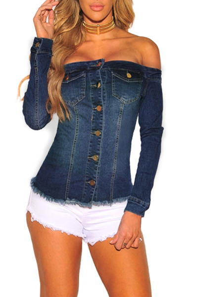 Stylish Dew Shoulder Long Sleeves Single-breasted Blue Denim Shirts