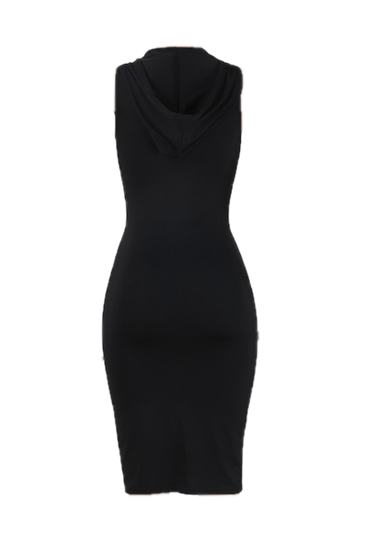 Leisure Black Milk Fiber Sheath Knee Length Dress