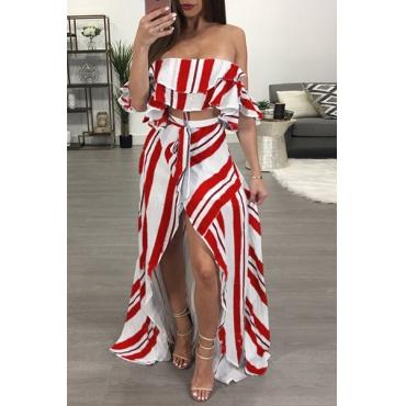 Stylish Dew Shoulder Striped Asymmetrical Red Cotton Two-piece Skirt Set