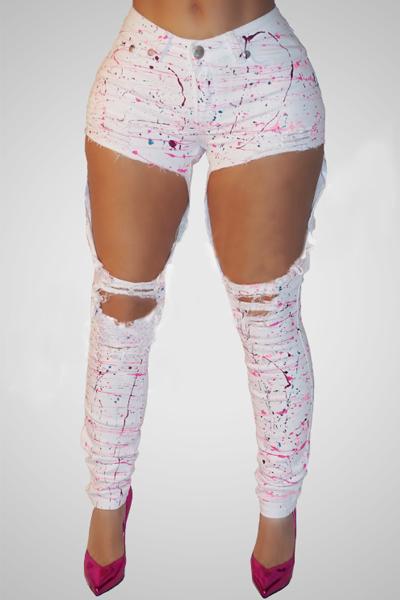 Stylish High Waist Broken Holes White Cotton Pants