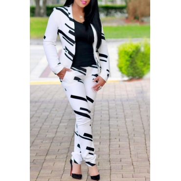 Euramerican Turndown Collar Long Sleeves Printed White Venetian Two-piece Pants Set