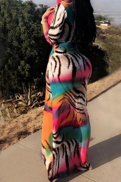 Stylish V Neck Long Sleeves Printed Milk Fiber Ankle Length Dress