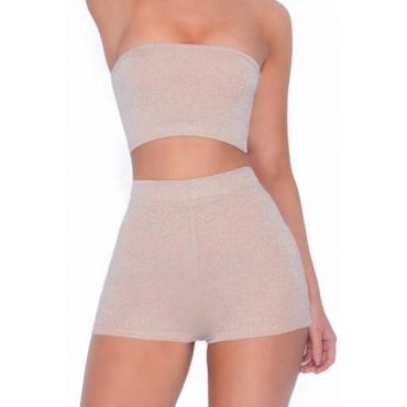 Euramerican Dew Shoulder Apricot Rayon Two-piece Shorts Set