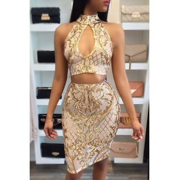 Sexy Hollow-out Golden Polyester Two-piece Skirt Set