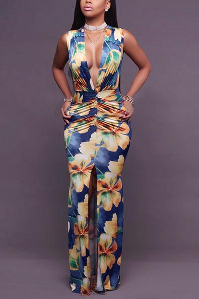 Sexy Vestido De Longitud De Tobillo De La Envoltura De Fusión Profunda Cuello V Impreso (impresión Sin Posicionamiento)