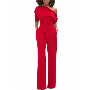Stylish One-shoulder Red Polyester One-piece Jumpsuits(With Belt)