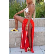 Trendy Elastic Waist High Split Red Qmilch Pants