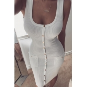 Stylish Round Neck Buttons Decorative White Cotton Sheath Mini Dress