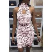 Сексуальное Backless Розовое Платье Шнурка Шнурка Мини (без Подкладки)