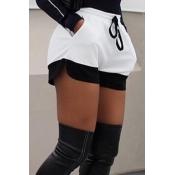 Leisure Elastic Waist Black-white Knitting Shorts