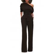 Elegante un-spalla poliestere neri un pezzo Jumpsuits (con cintura)