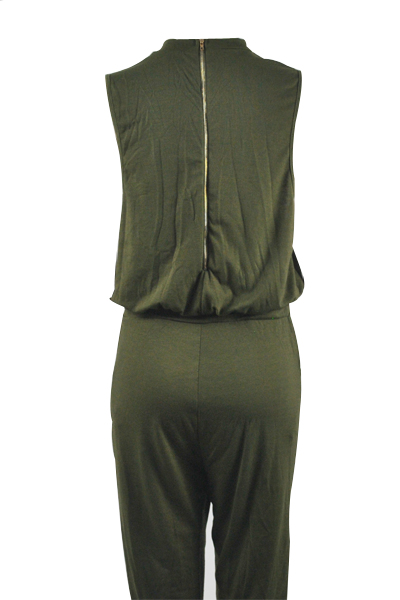 Stylish Round Neck Sleeveless Broken Holes Zipper Design Army Green Polyester One-piece Jumpsuits