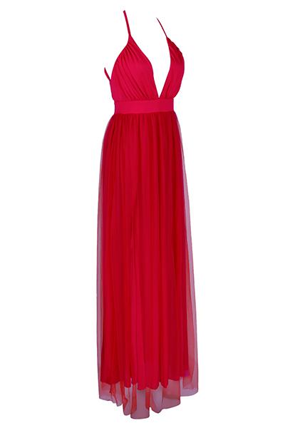 Sexy V Neck Spaghetti Strap Sleeveless See-Through Red Chiffon Beach Ankle Length Dress