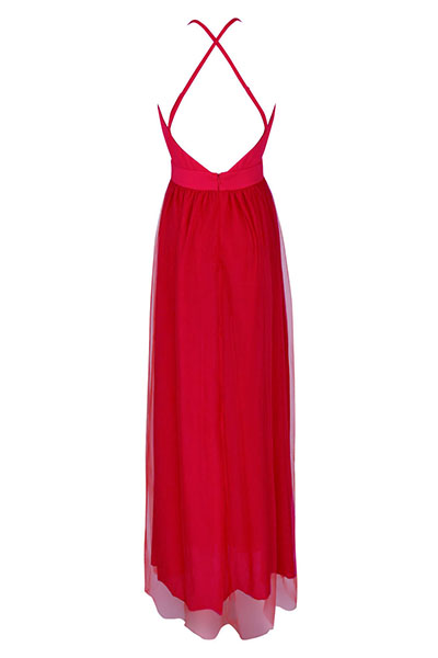 Sexy V Neck Spaghetti Strap Sleeveless See-Through Red Chiffon Beach Ankle Length Dress