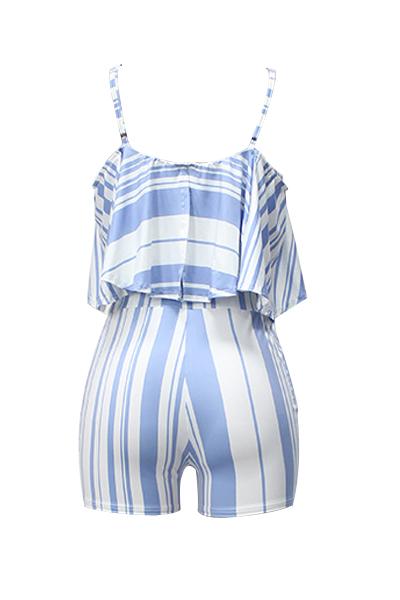 Sexy Spaghetti Strap Sleeveless Striped White Polyester Two-piece Shorts Set
