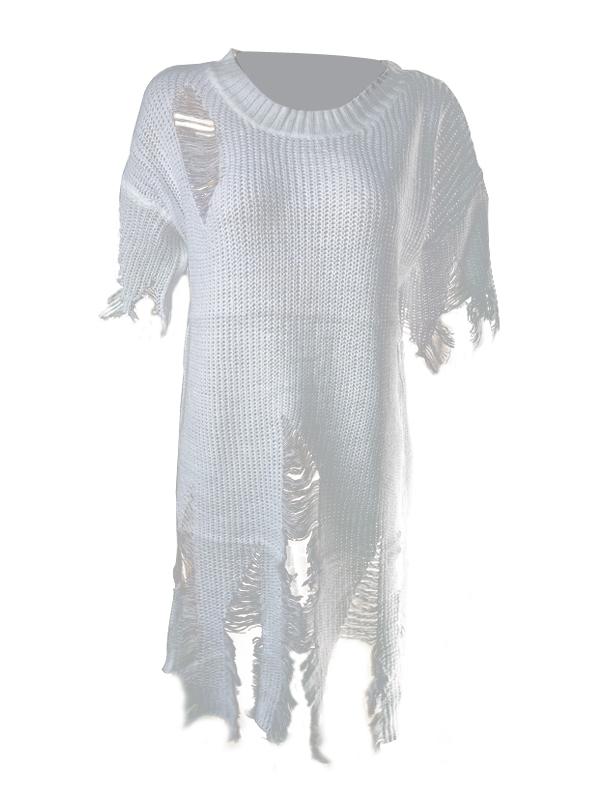 Trendy Round Neck Short Sleeves Tassel Design White knitting Shirt