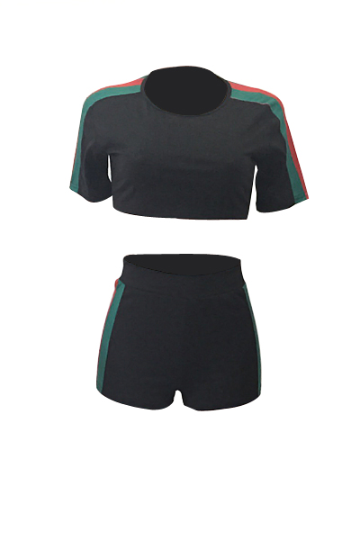 Leisure Short Sleeves Color Block Black Cotton Two-piece Shorts Set