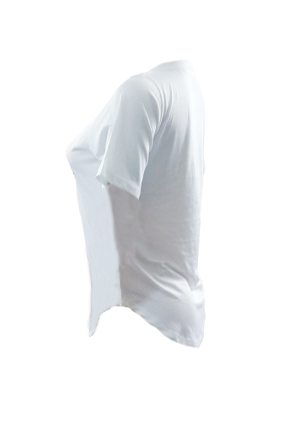 Досуг круглая шея с короткими рукавами печатная белая хлопчатобумажная футболка