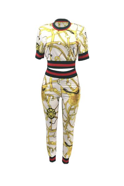 Мода круглая шея печатных лоскутная белая хлопчатобумажная брюки из двух частей