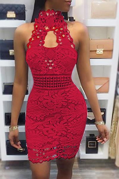 Sexy Backless encaje rojo vaina mini vestido (sin forro)