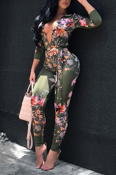 Sexy Deep V Neck Printed Knitting One-piece Skinny Jumpsuits(Without Belt)