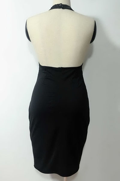 Sexy Round Neck Sequined Decorative Black Polyester Sheath Knee Length Dress(Without Lining)