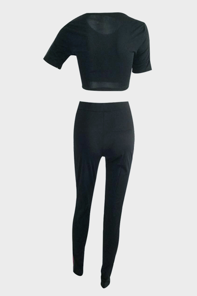 Leisure Round Neck Short Sleeves Patchwork Black Venetian Two-piece Pants Set