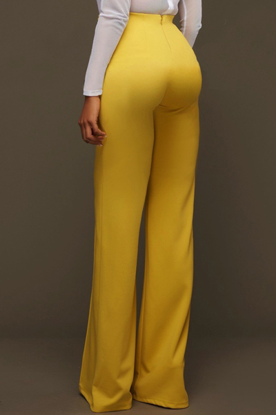Euramerican High Waist Zipper Design Yellow Polyester Pants