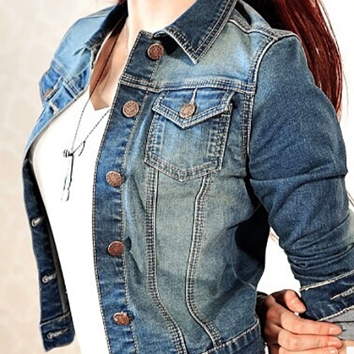 Stylish Turndown Collar Long Sleeves Single-breasted Denim Short Coat