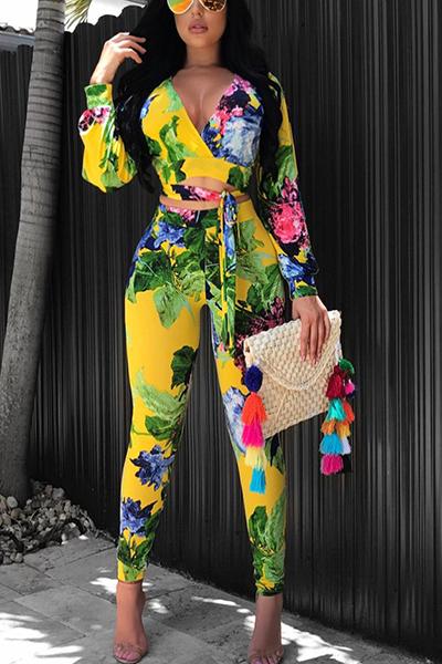 Stylish V Neck Long Sleeves Printed Yellow Venetian Two-piece Pants Set