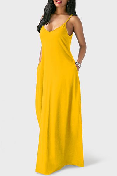 Casual V Neck Asymmetrical Yellow Blending Floor Length Dress
