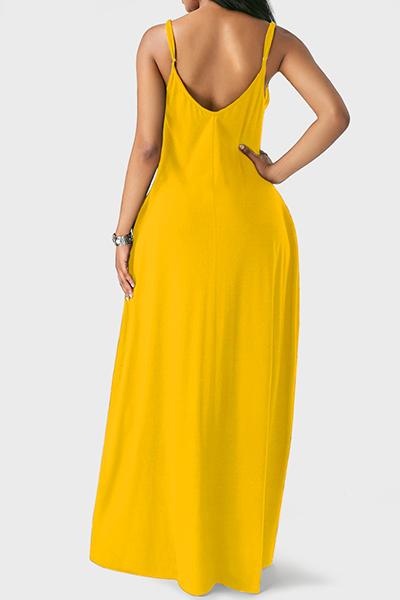 Casual V cuello asimétrico amarillo Blending piso vestido de longitud