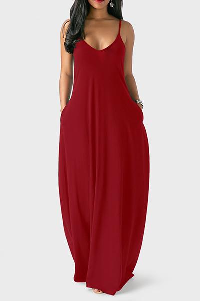 Casual V Neck Asymmetrical Wine Red Blending Floor Length Dress