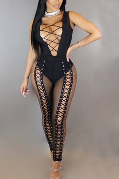 Sexy Deep V Neck Hollow-out Black Twilled One-piece Skinny Jumpsuits (Without Choker)