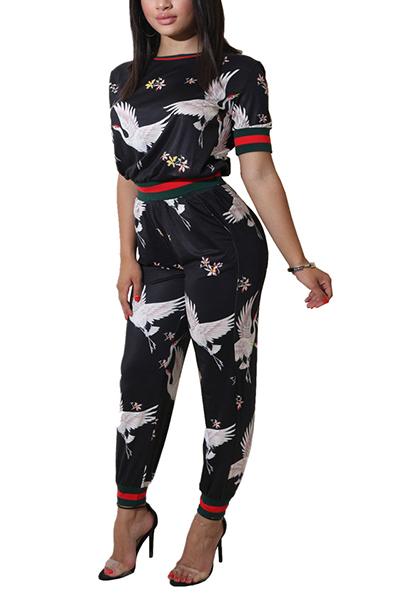 Stylish Round Neck Short Sleeves Printed Patchwork Black Knitting Two-piece Pants Set