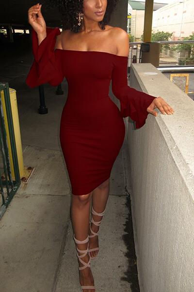 Stylish Dew Shoulder Long Sleeves Falbala Design Wine Red Polyester Sheath Knee Length Dress
