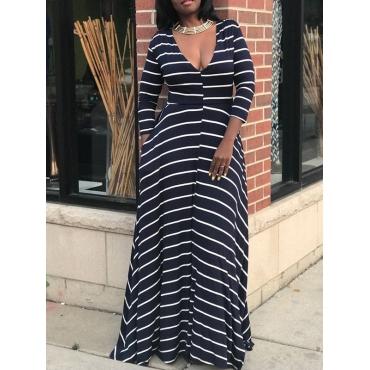 Fashion V Neck Long Sleeve Waist skirt Ankle Length Dresses