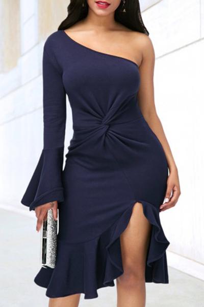 Polyester Sexy Bateau Neck One Shoulder Sheath Mid Calf Dresses