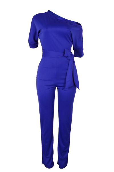 Stylish Ein-Schulter Blue Polyester Einteilige Overalls (Mit Gürtel)