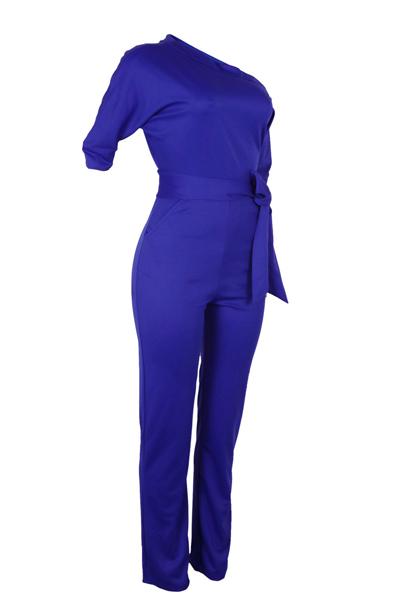 Elegante-hombro poliéster azul uno-piece Monos (con la correa)