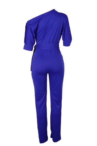 Elegante-Ombro Poliéster Azul-Piece Jumpsuits (With Belt)