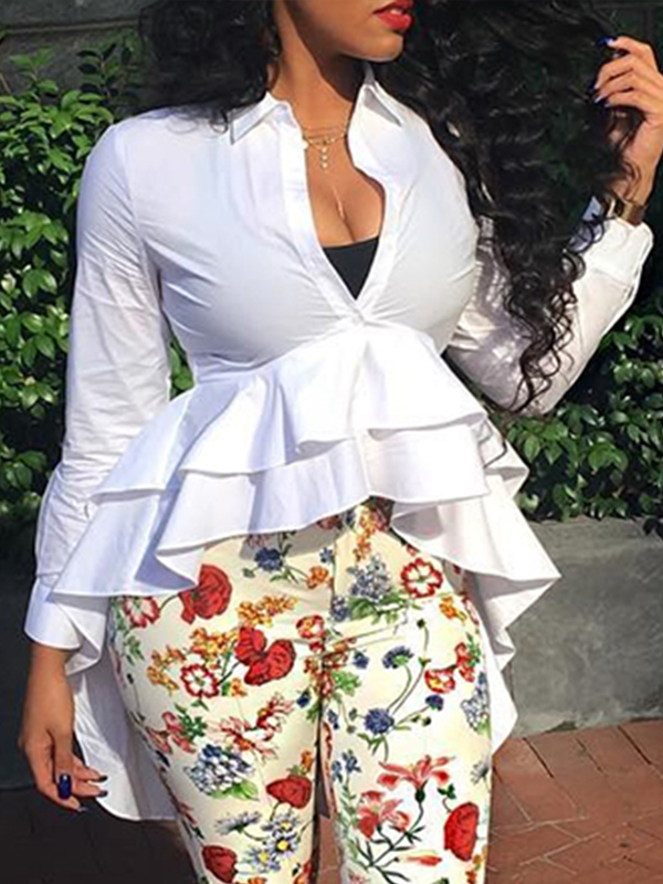 Stylish V Neck Long Sleeves Falbala Design White Polyester Tops