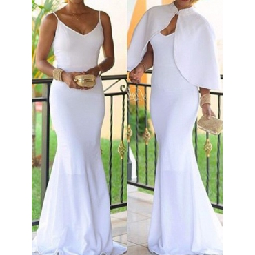 Euramerican V Neck White Modal Ankle Length Dress(With Coat)